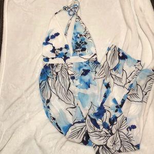 Tobi blue floral jumpsuit